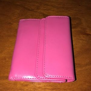 Handbags - Pink Leather small wallet w/attached snap coin